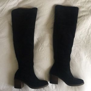 Lucky Brand Knee High Black Suede Boots